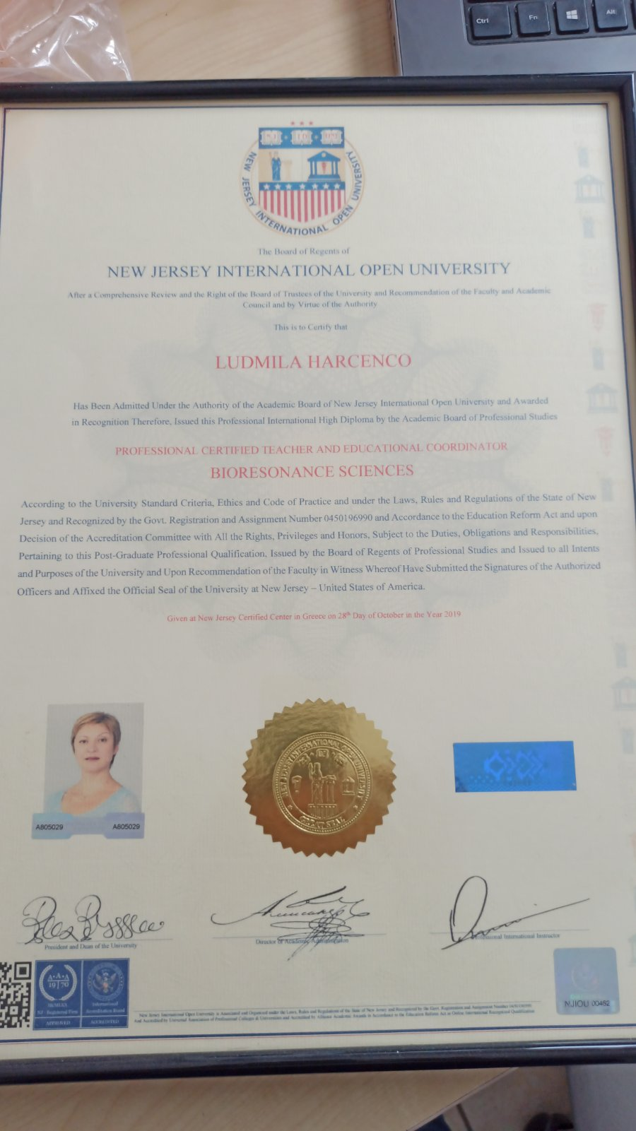 Professional Bioresonance Sciences Teacher - New Jersey International Open University